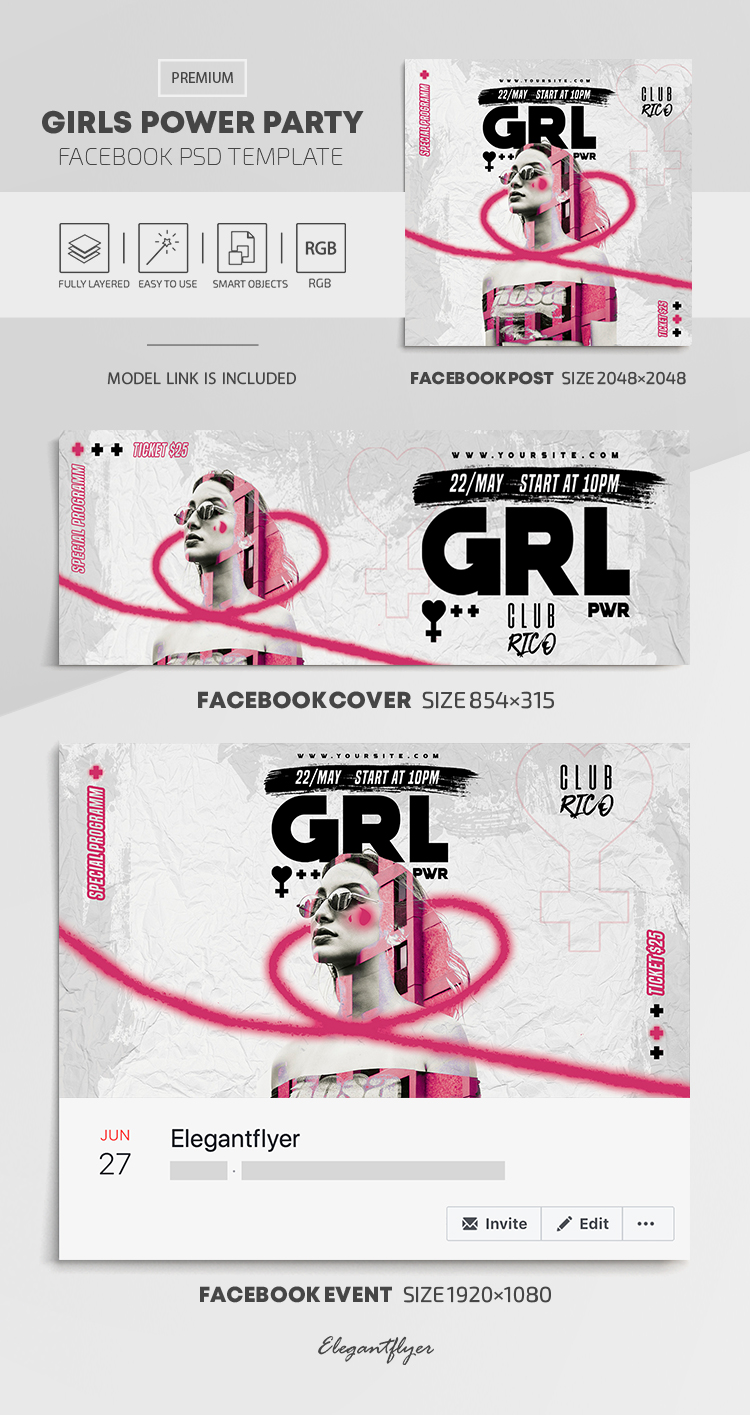 Girls Power Party – Facebook Cover Template in PSD + Post + Event cover