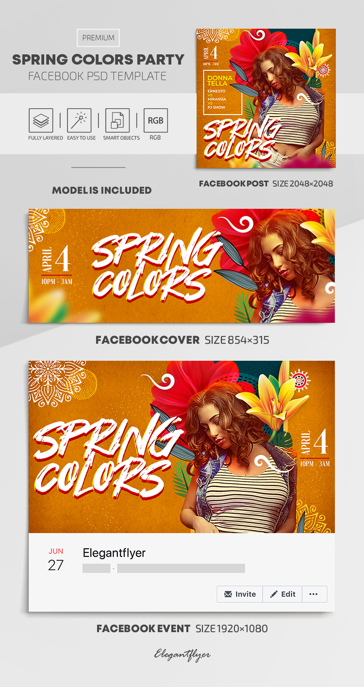 Spring Colors Party – Facebook Cover Template in PSD + Post + Event cover