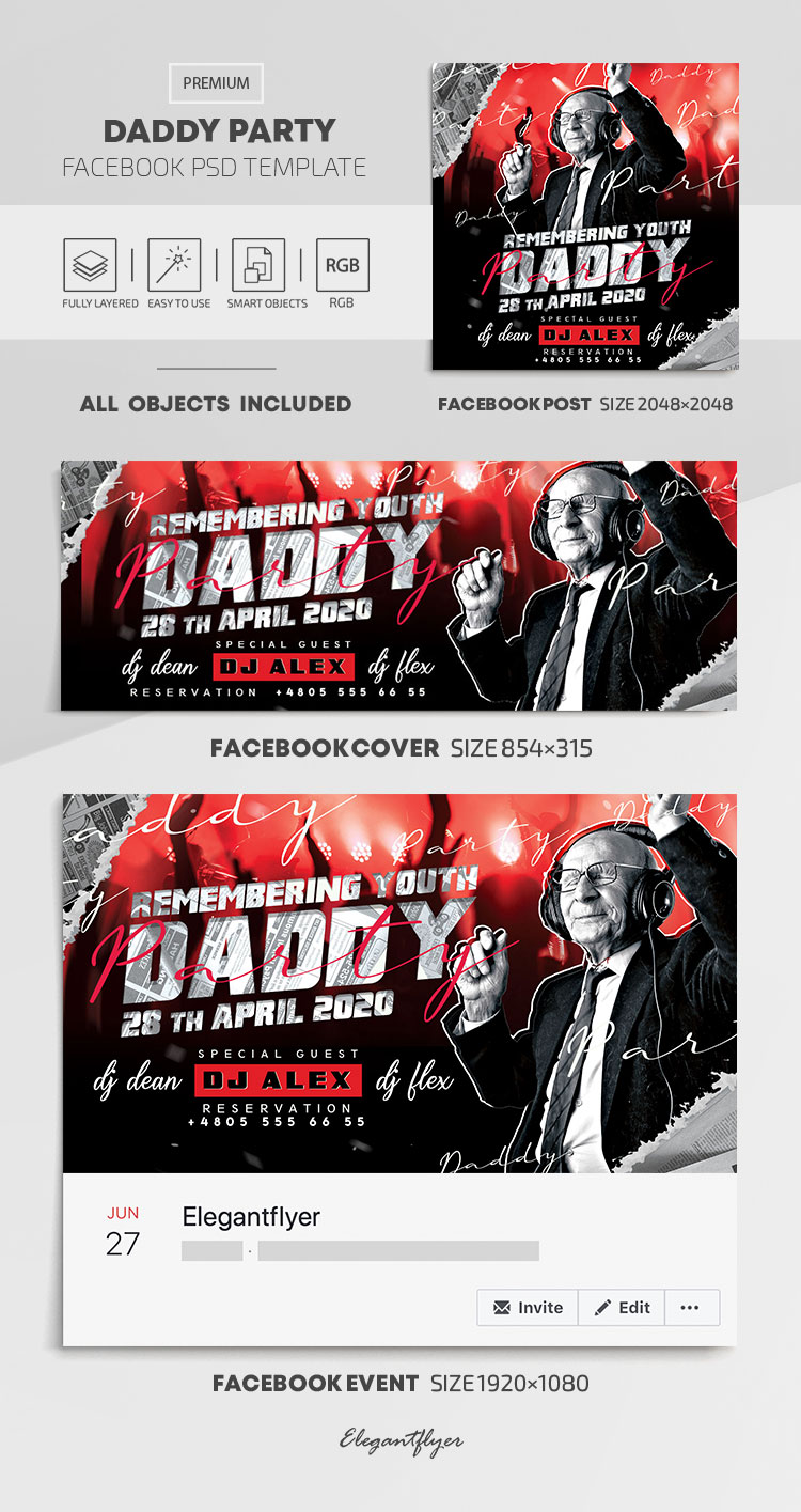 Daddy Party Flyer – Facebook Cover Template in PSD + Post + Event cover