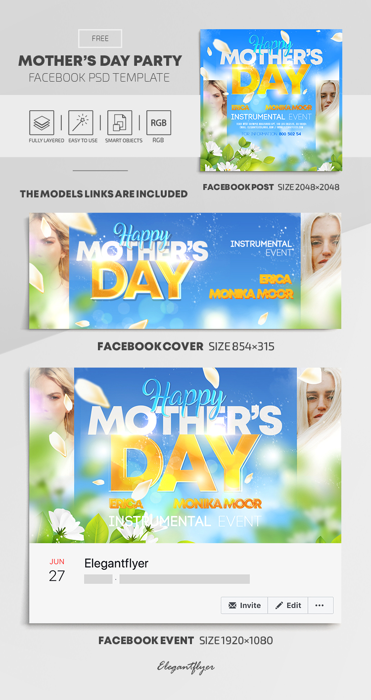 Happy Mother's Day – Free Facebook Cover Template in PSD + Post + Event cover