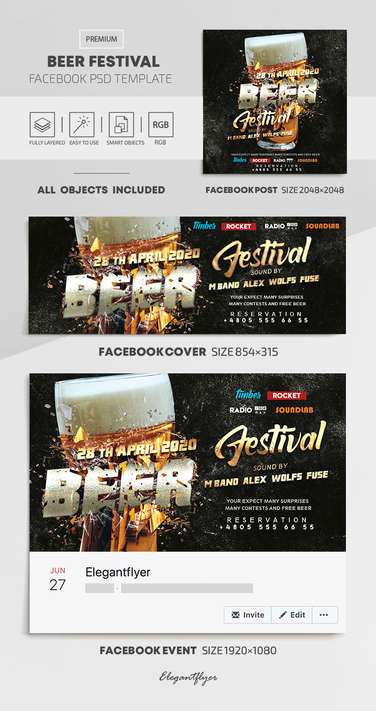 Beer Festival – Facebook Cover Template in PSD + Post + Event cover