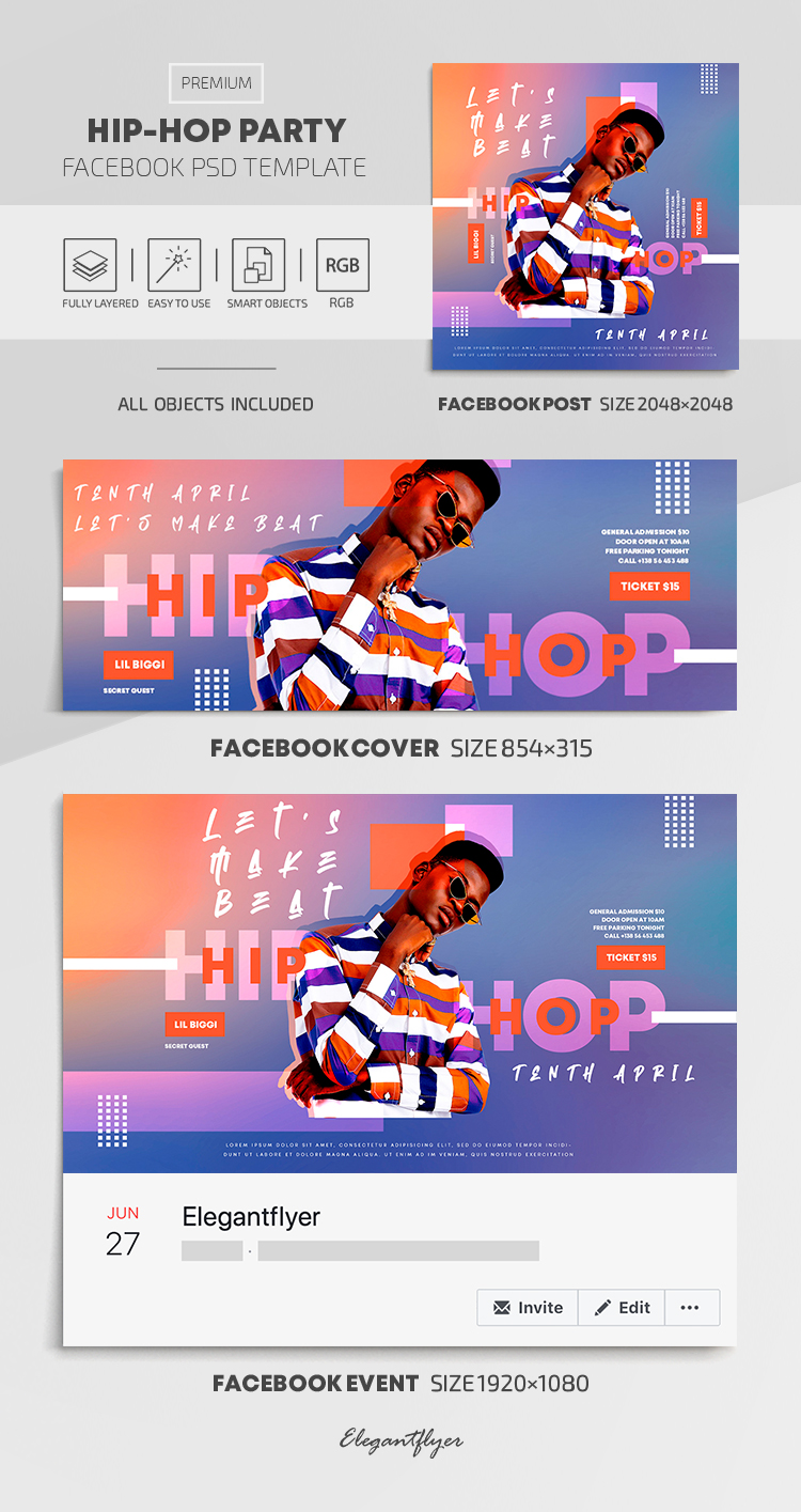 Hip-Hop Party – Facebook Cover Template in PSD + Post + Event cover