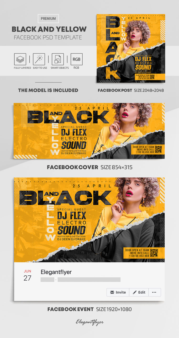 Black and Yellow – Facebook Cover Template in PSD + Post + Event cover