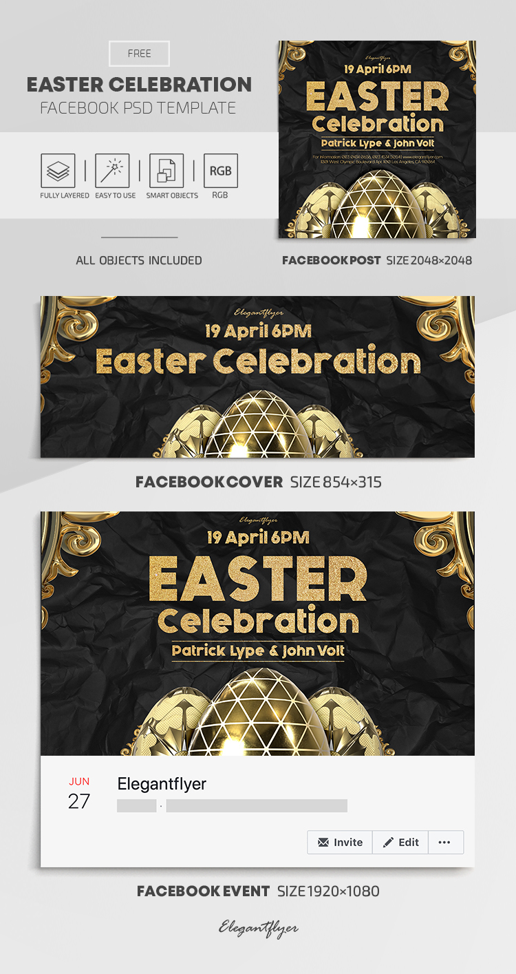 Easter Celebration – Free Facebook Cover Template in PSD + Post + Event cover