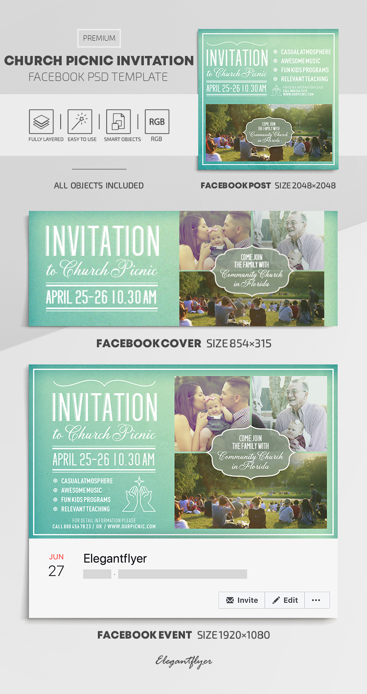 Church Picnic Invitation – Facebook Cover Template in PSD + Post + Event cover