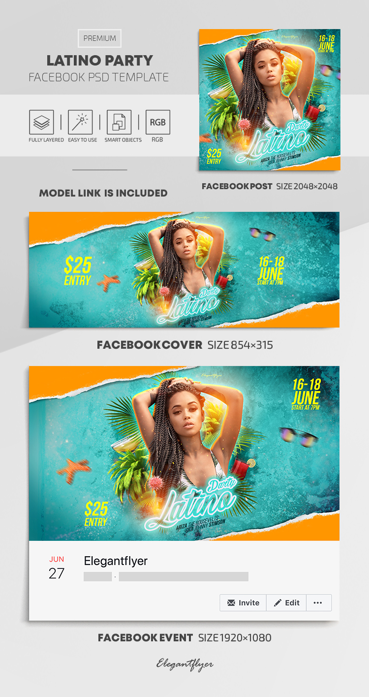 Latino Party – Facebook Cover Template in PSD + Post + Event cover