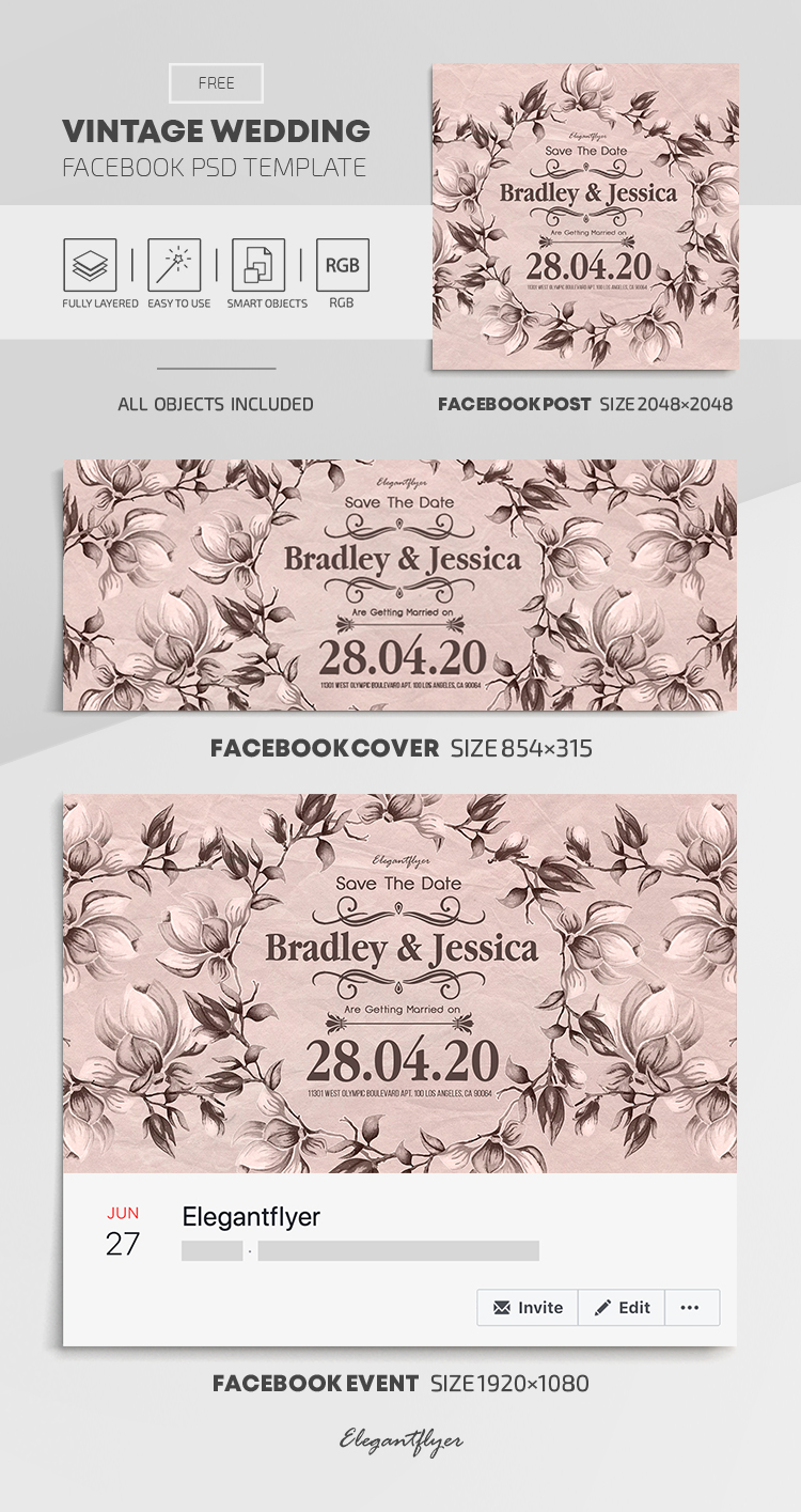 Vintage Wedding – Free Facebook Cover Template in PSD + Post + Event cover