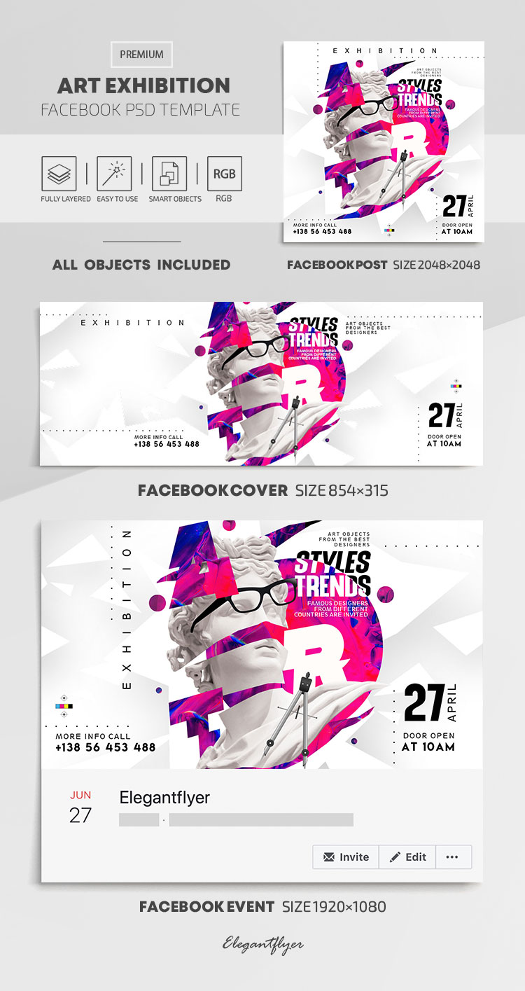 Art Exhibition – Facebook Cover Template in PSD + Post + Event cover