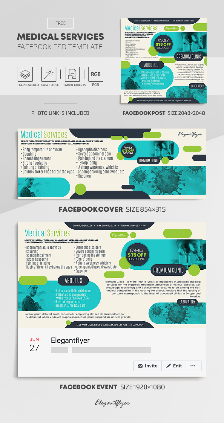 Medical Services – Free Facebook Cover Template in PSD + Post + Event cover