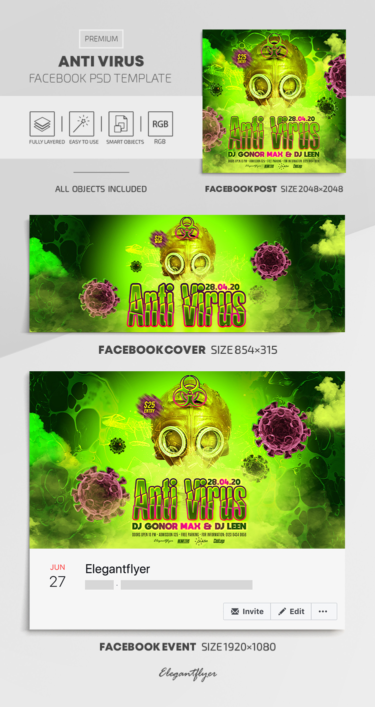 Anti Virus – Facebook Cover Template in PSD + Post + Event cover