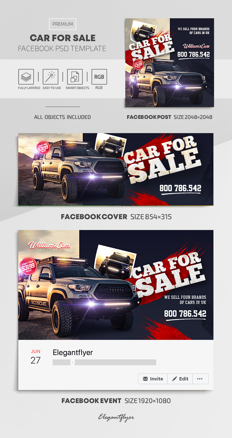 Car For Sale – Facebook Cover Template in PSD + Post + Event cover