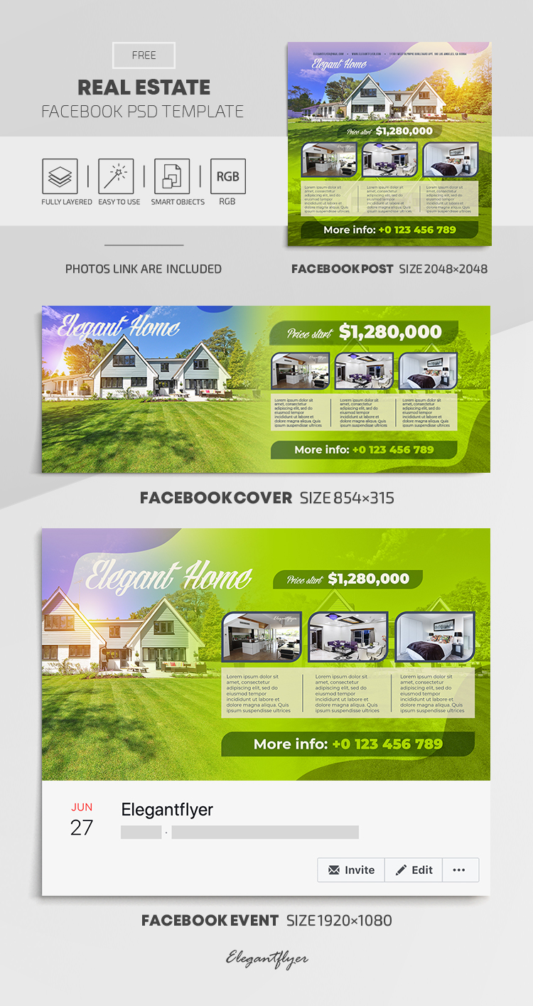 Real Estate – Free Facebook Cover Template in PSD + Post + Event cover