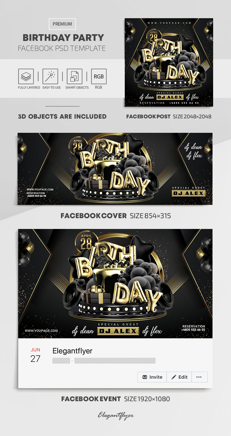 Birthday Party – Facebook Cover Template in PSD + Post + Event cover