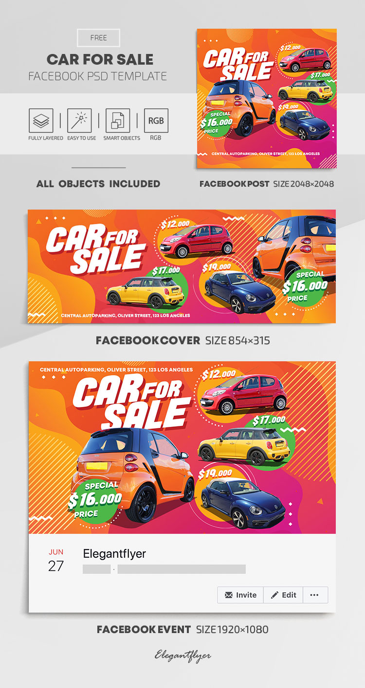 Car For Sale – Free Facebook Cover Template in PSD + Post + Event cover