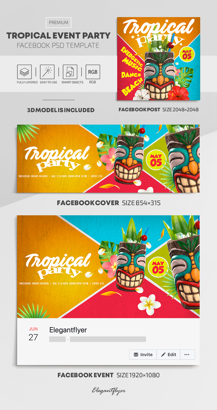 Tropical Event Party – Facebook Cover Template in PSD + Post + Event cover