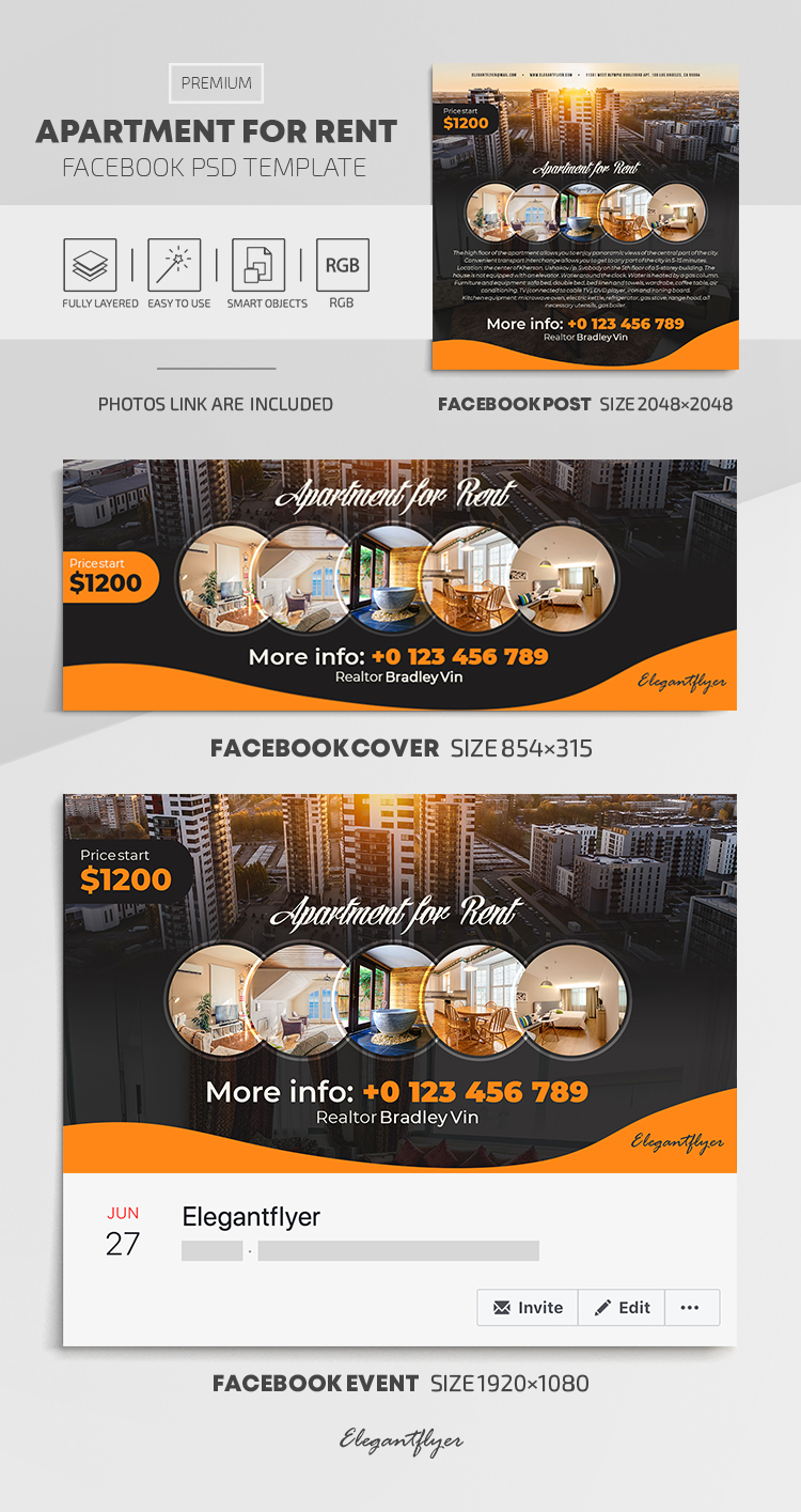 Apartment For Rent – Facebook Cover Template in PSD + Post + Event cover