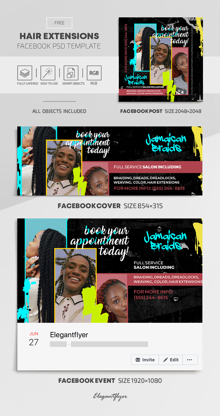 Hair Extensions – Free Facebook Cover Template in PSD + Post + Event cover