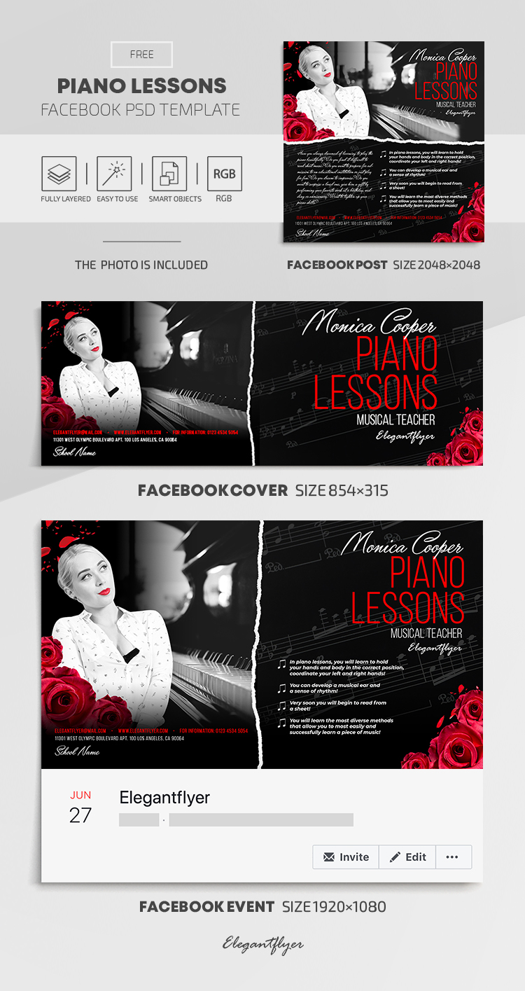 Piano Lessons – Free Facebook Cover Template in PSD + Post + Event cover