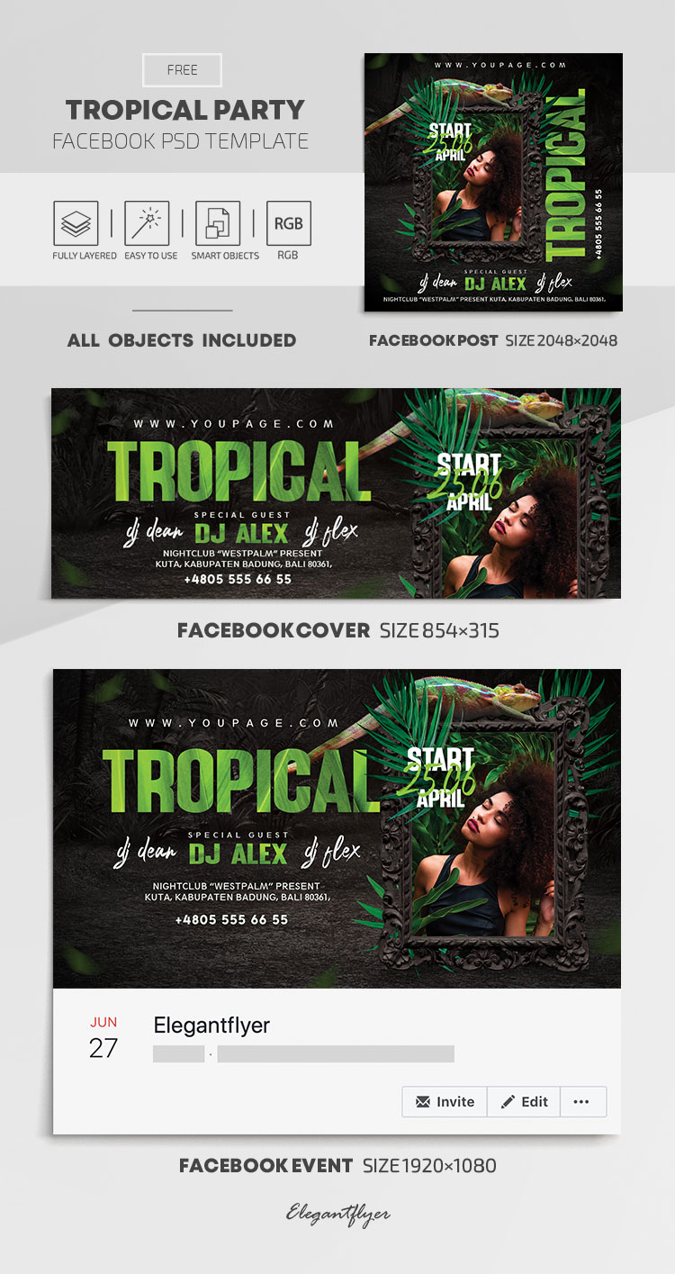 Tropical Party – Free Facebook Cover Template in PSD + Post + Event cover