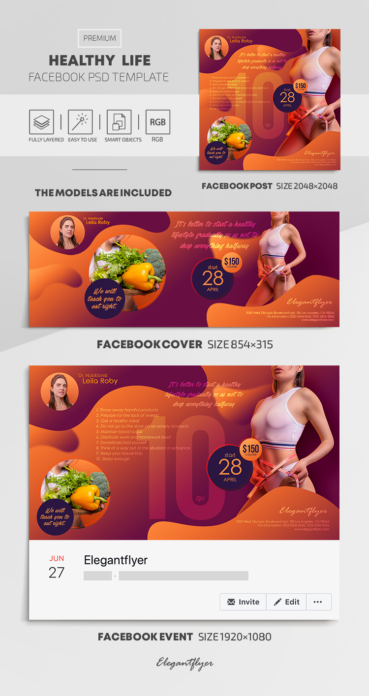 Healthy Life – Facebook Cover Template in PSD + Post + Event cover