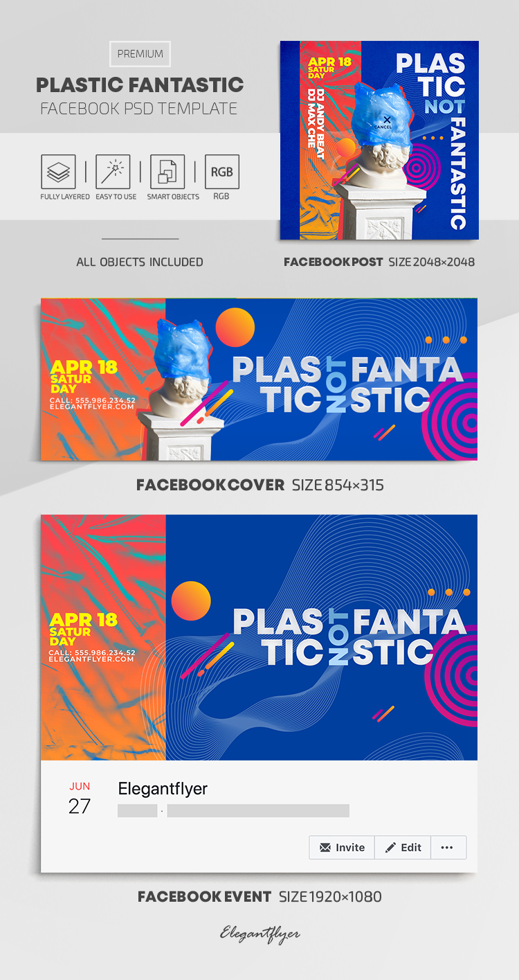 Plastic Fantastic – Facebook Cover Template in PSD + Post + Event cover