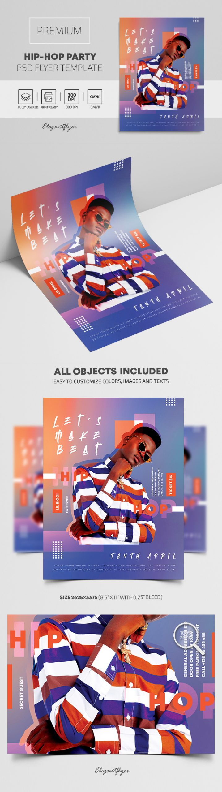 Hip-Hop Party – Premium PSD Flyer Template