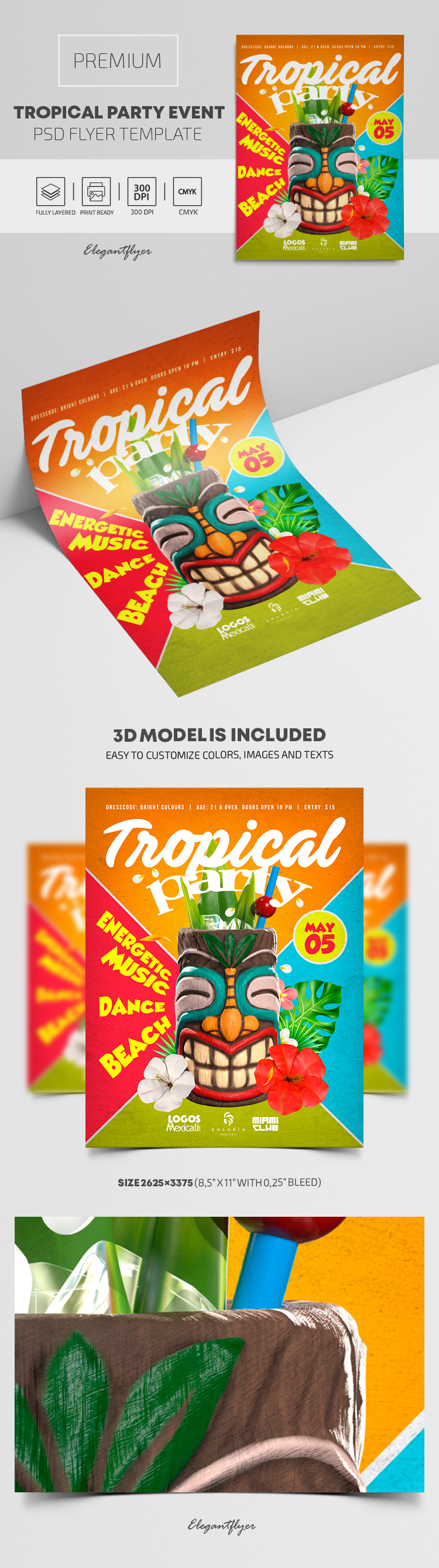 Tropical Party Event – Premium PSD Flyer Template