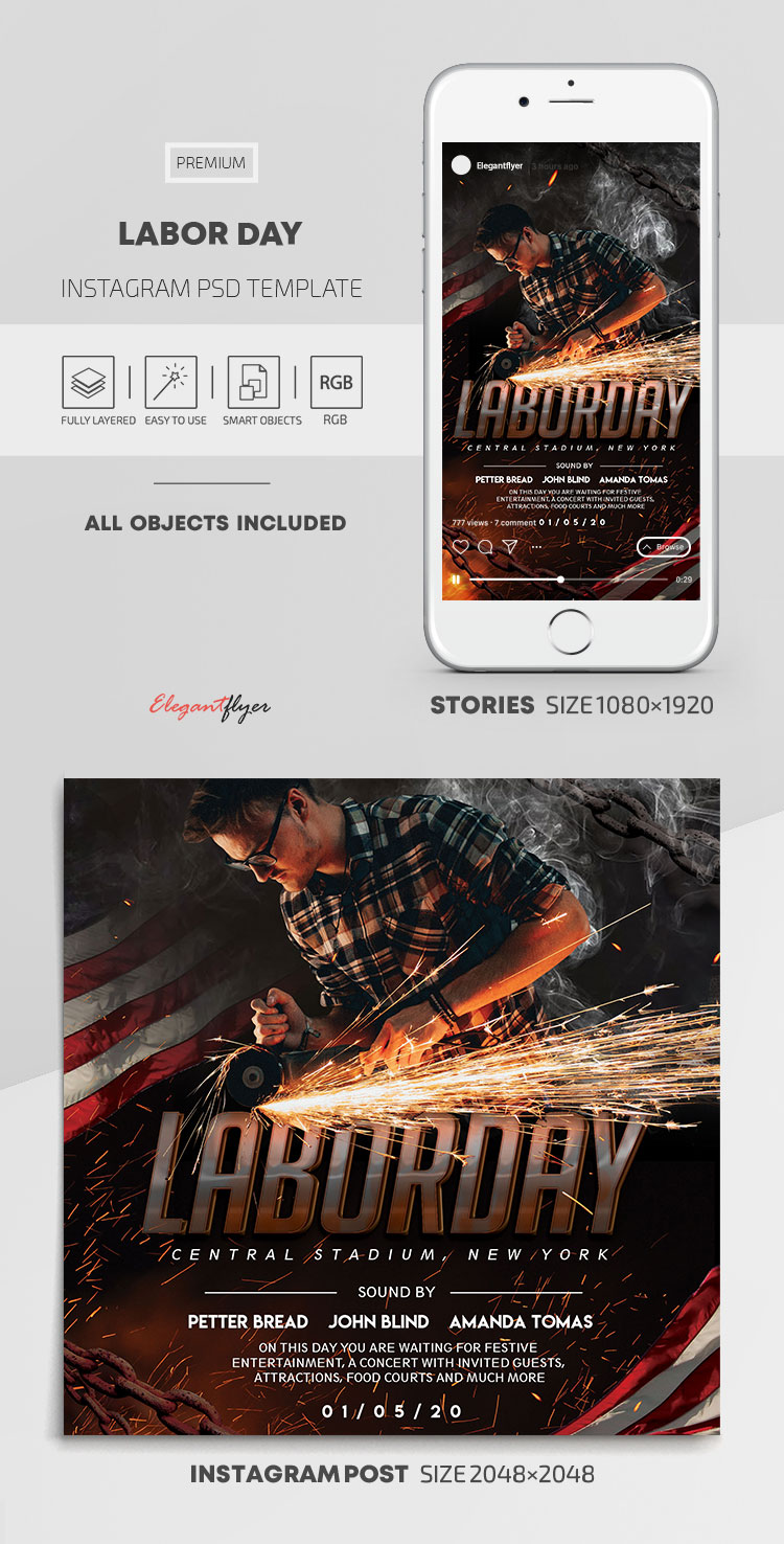 Labor Day – Instagram Stories Template in PSD + Post Templates