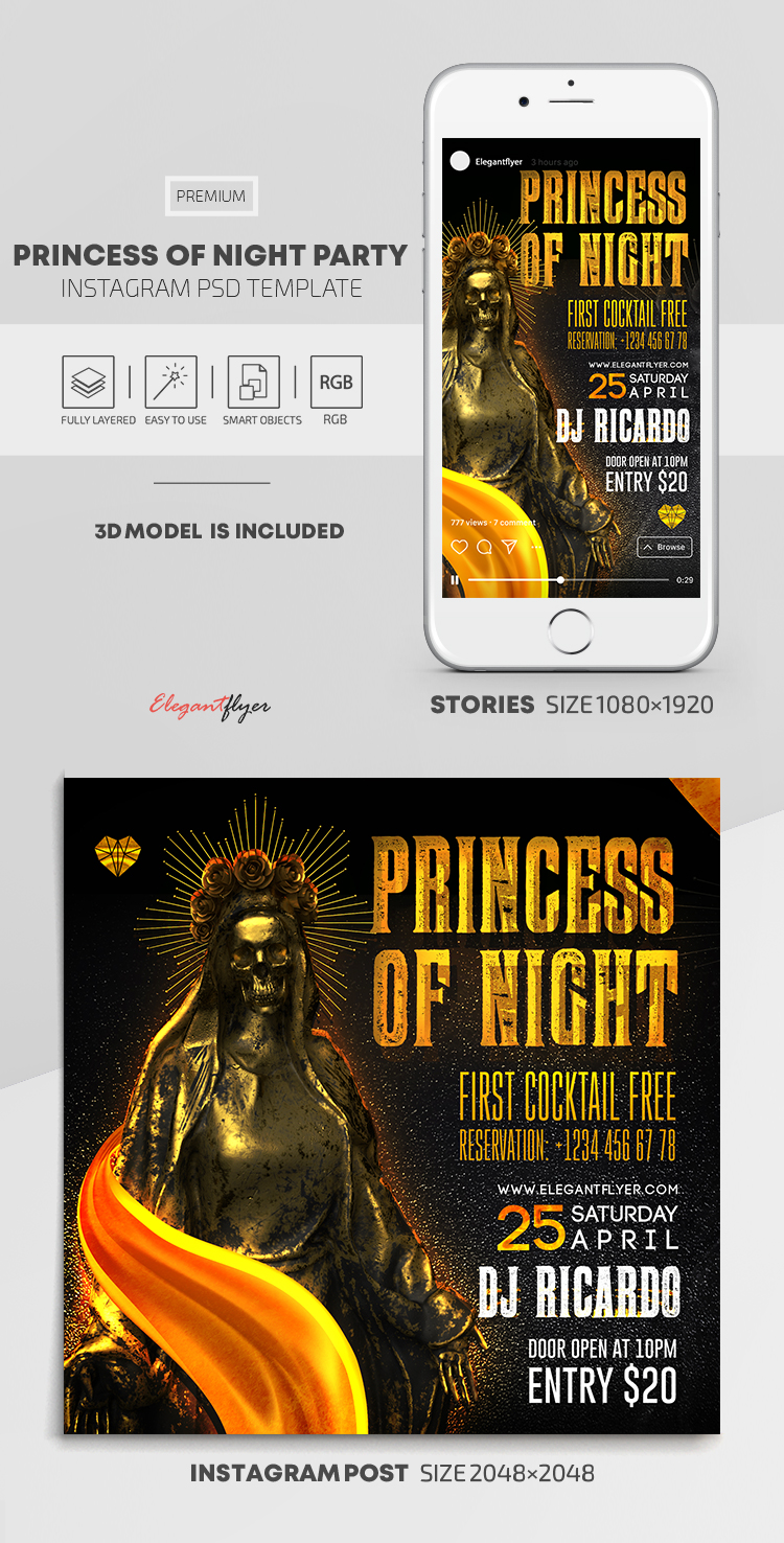 Princess Of The Night – Instagram Stories Template in PSD + Post Templates