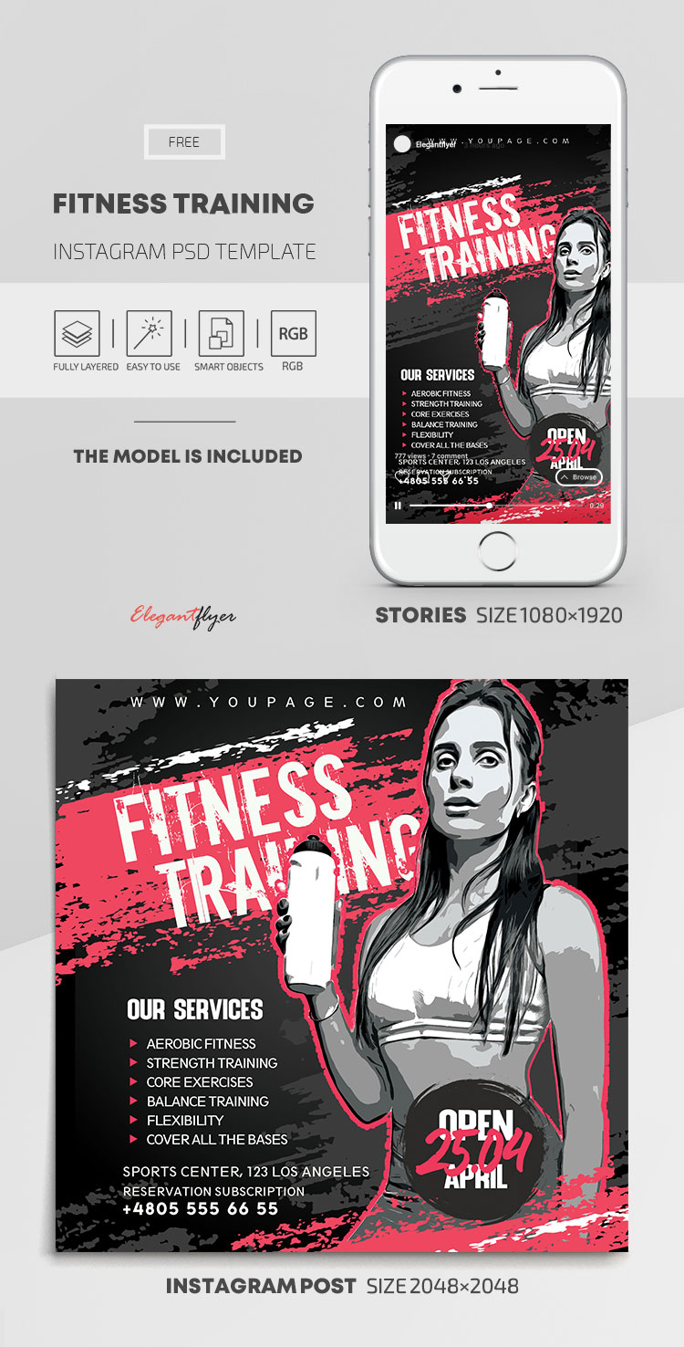 Fitness Training – Free Instagram Stories Template in PSD + Post Templates