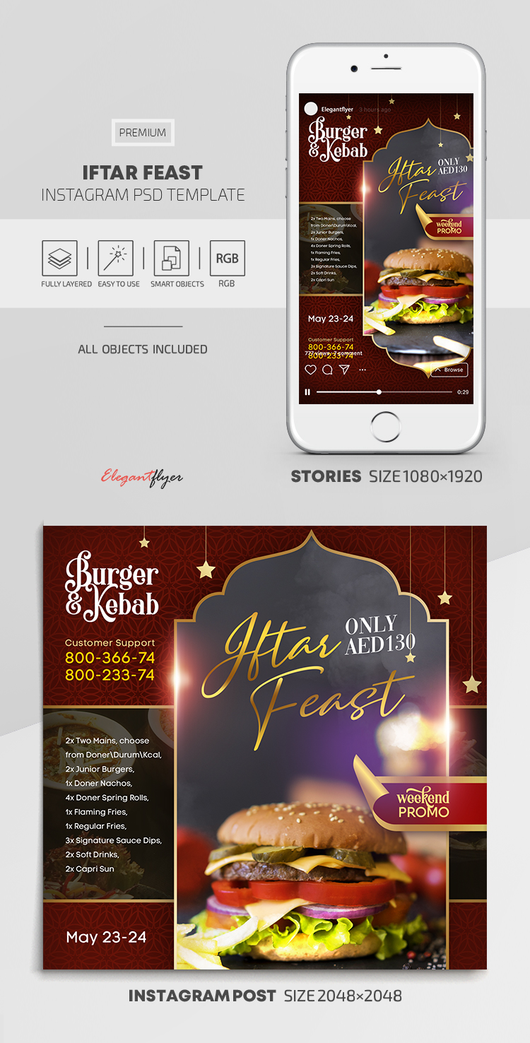 Iftar Feast – Instagram Stories Template in PSD + Post Templates