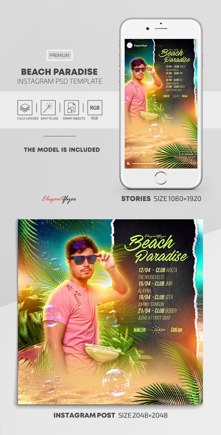 Beach Paradise – Instagram Stories Template in PSD + Post Templates