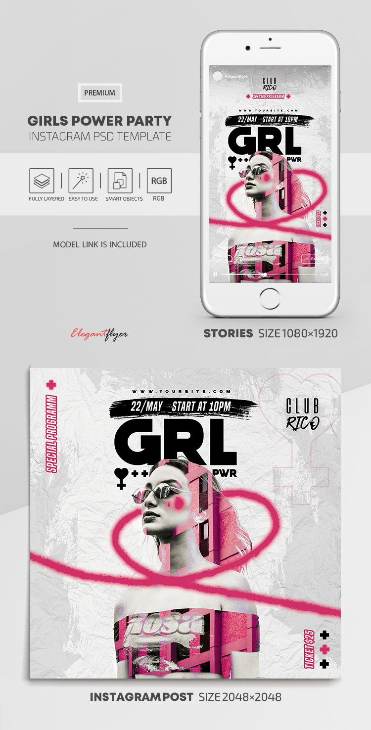 Girls Power Party – Instagram Stories Template in PSD + Post Templates