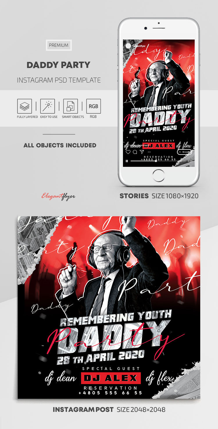 Daddy Party Flyer – Instagram Stories Template in PSD + Post Templates