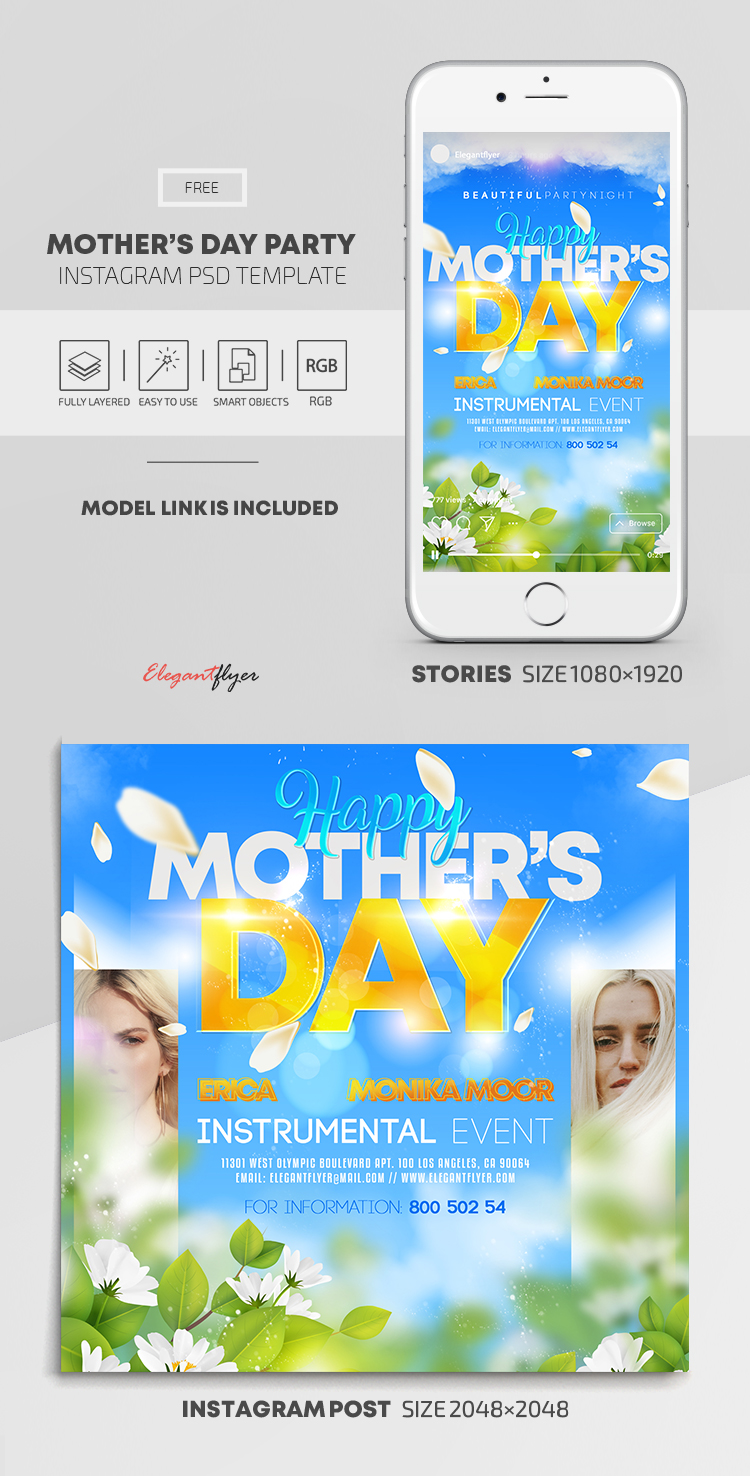 Happy Mother's Day – Free Instagram Stories Template in PSD + Post Templates