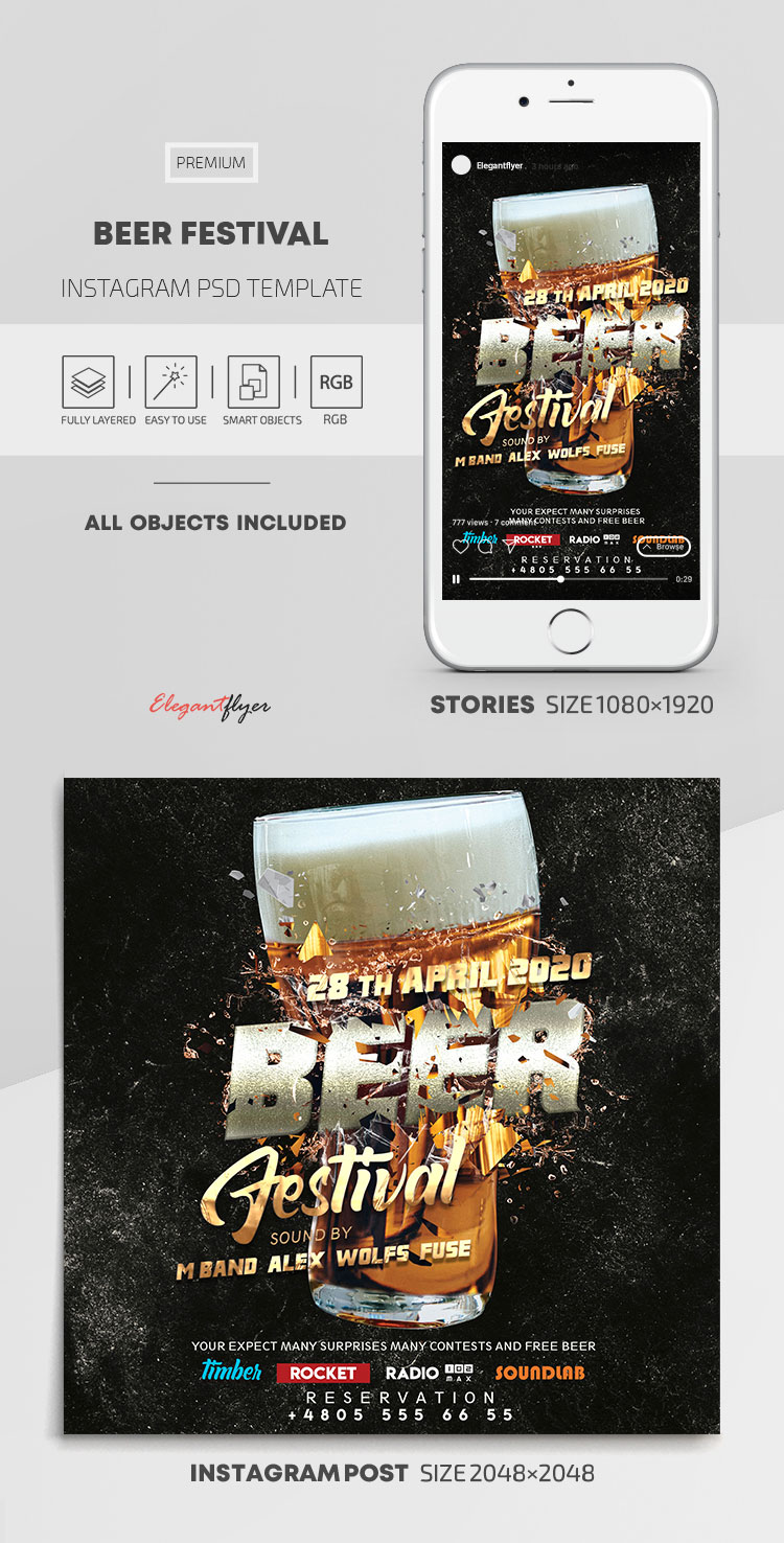 Beer Festival – Instagram Stories Template in PSD + Post Templates