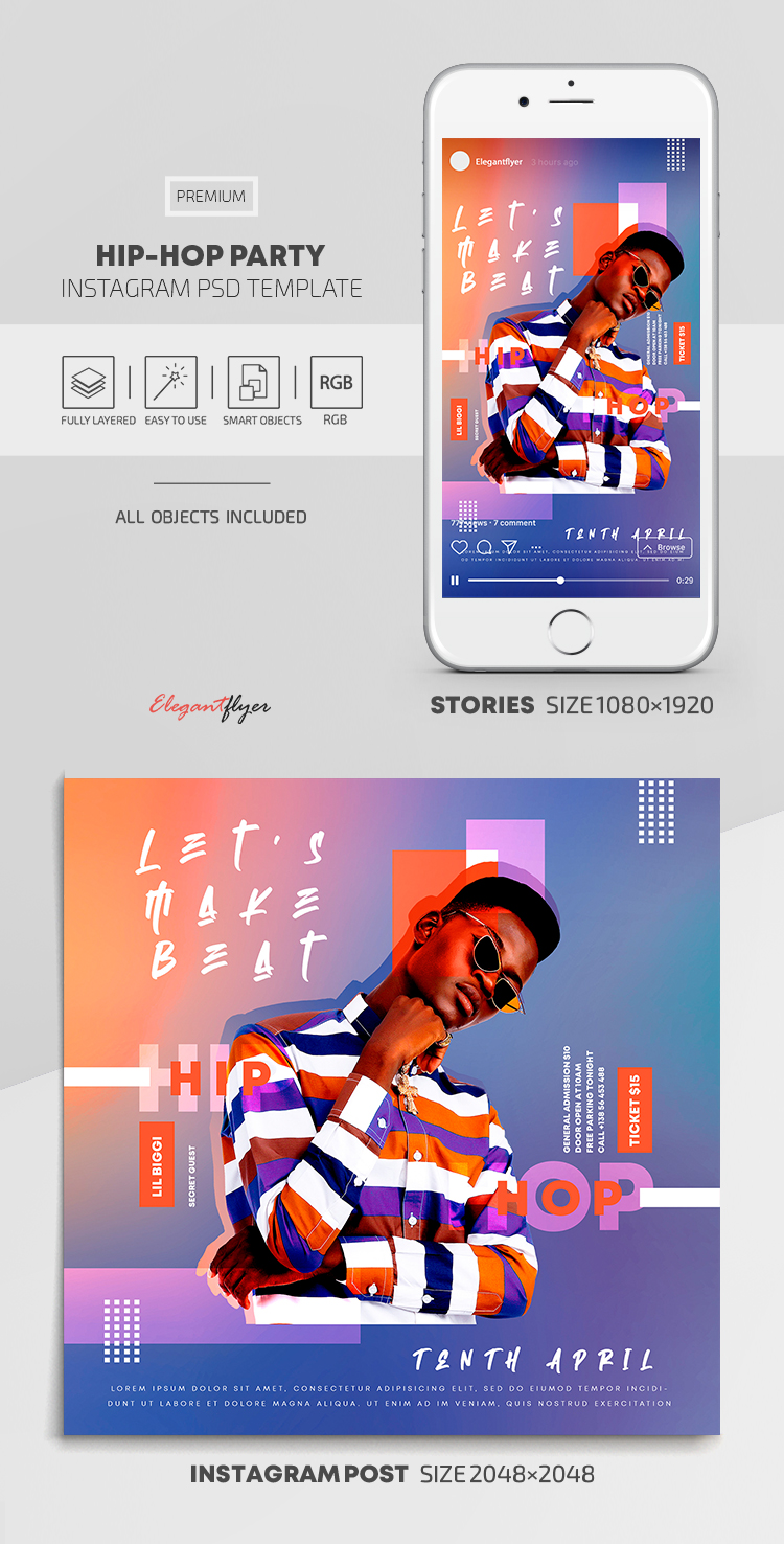 Hip-Hop Party – Instagram Stories Template in PSD + Post Templates
