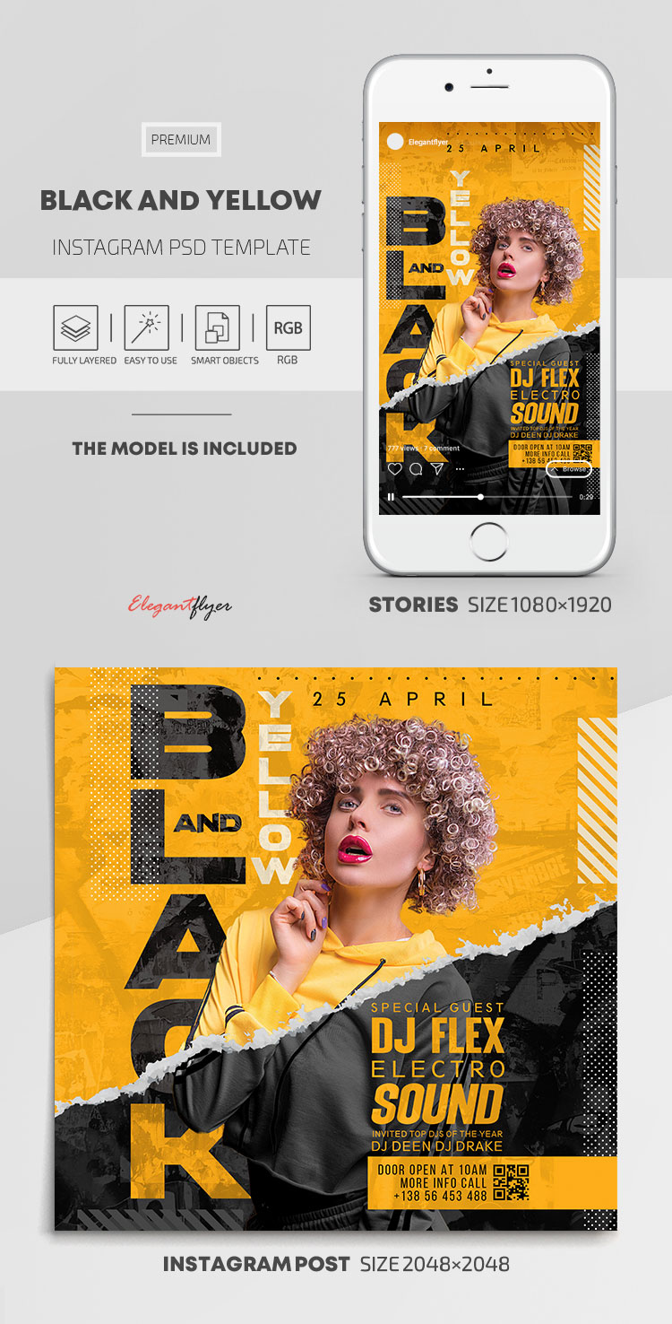 Black and Yellow – Instagram Stories Template in PSD + Post Templates