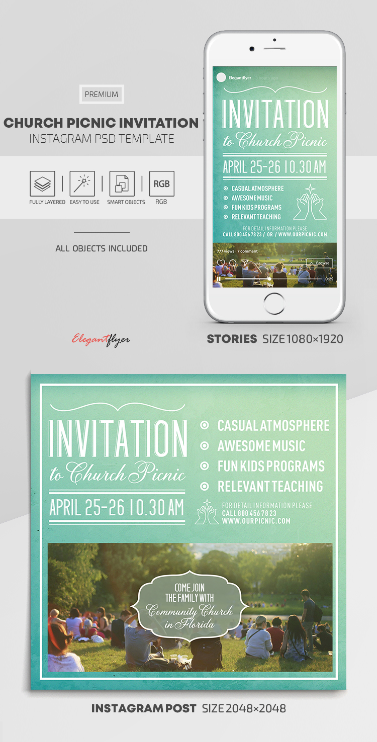 Church Picnic Invitation – Instagram Stories Template in PSD + Post Templates
