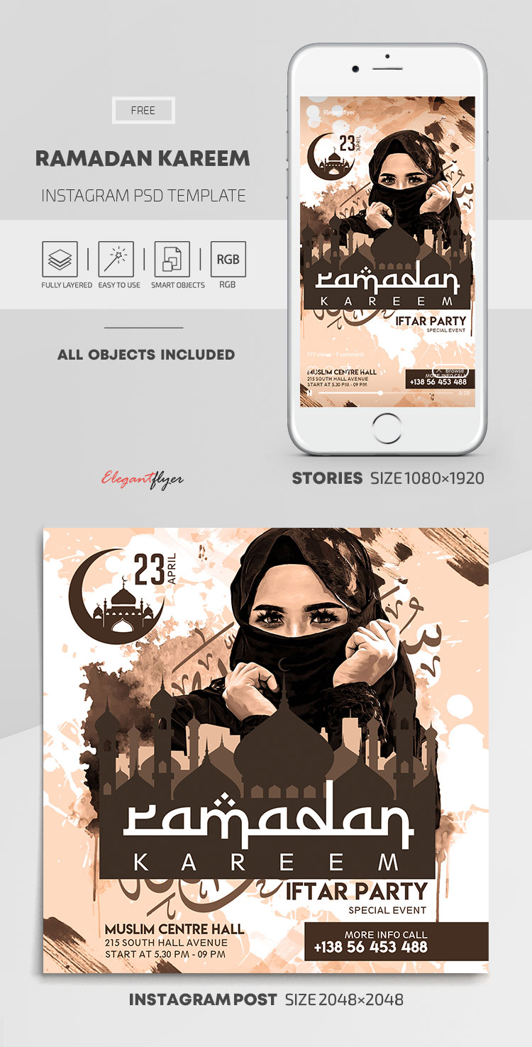 Ramadan Kareem – Free Instagram Stories Template in PSD + Post Templates