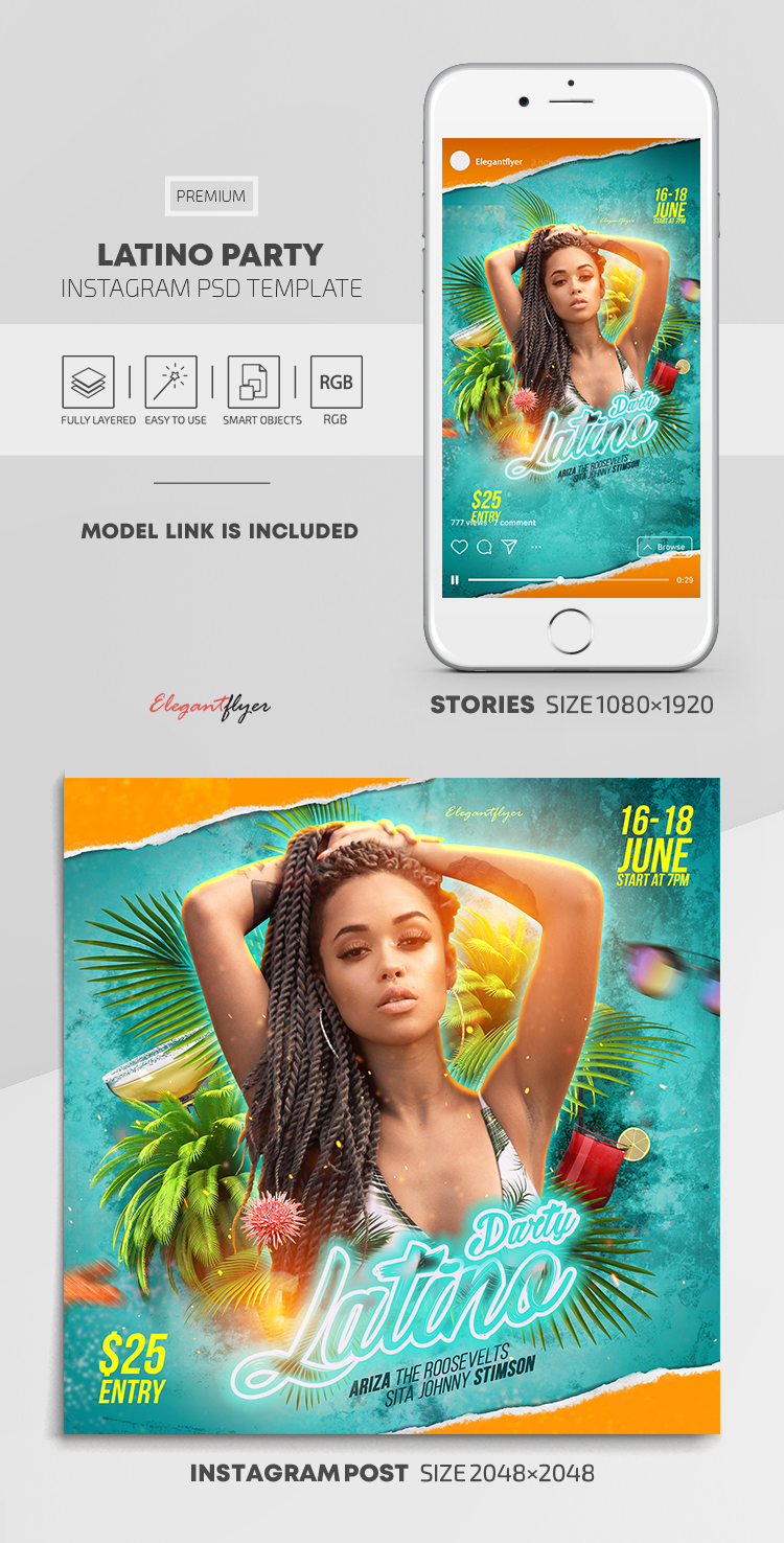 Latino Party – Instagram Stories Template in PSD + Post Templates