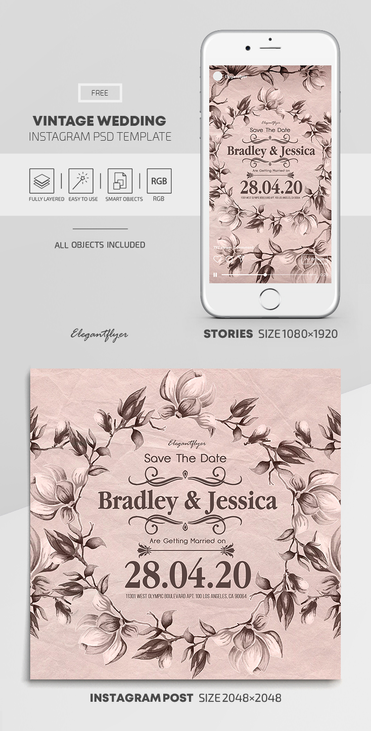 Vintage Wedding – Free Instagram Stories Template in PSD + Post Templates