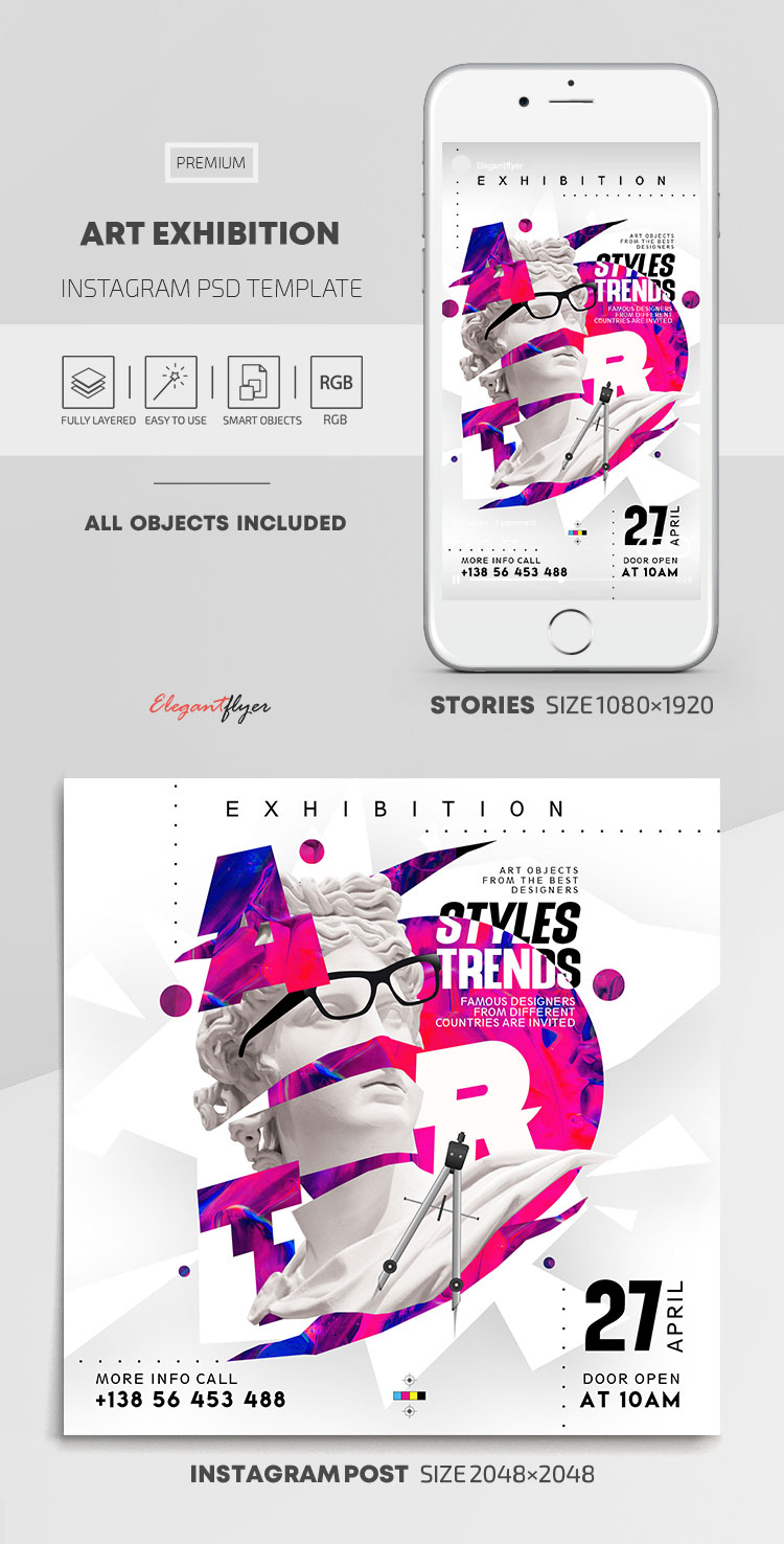 Art Exhibition – Instagram Stories Template in PSD + Post Templates