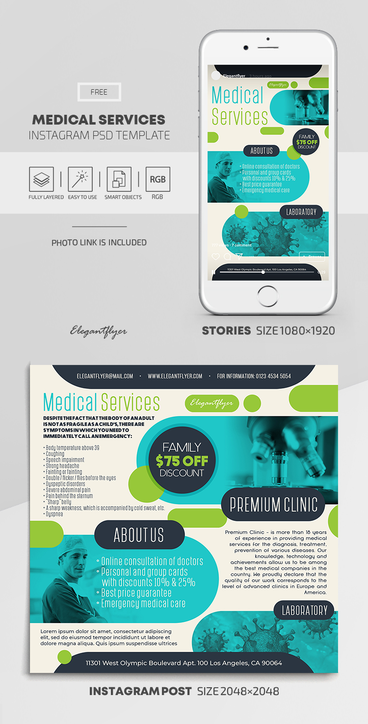 Medical Services – Free Instagram Stories Template in PSD + Post Templates