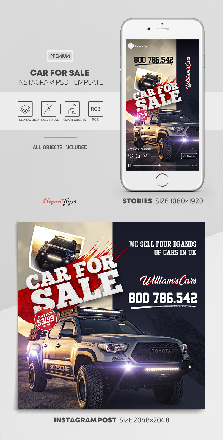 Car For Sale – Instagram Stories Template in PSD + Post Templates