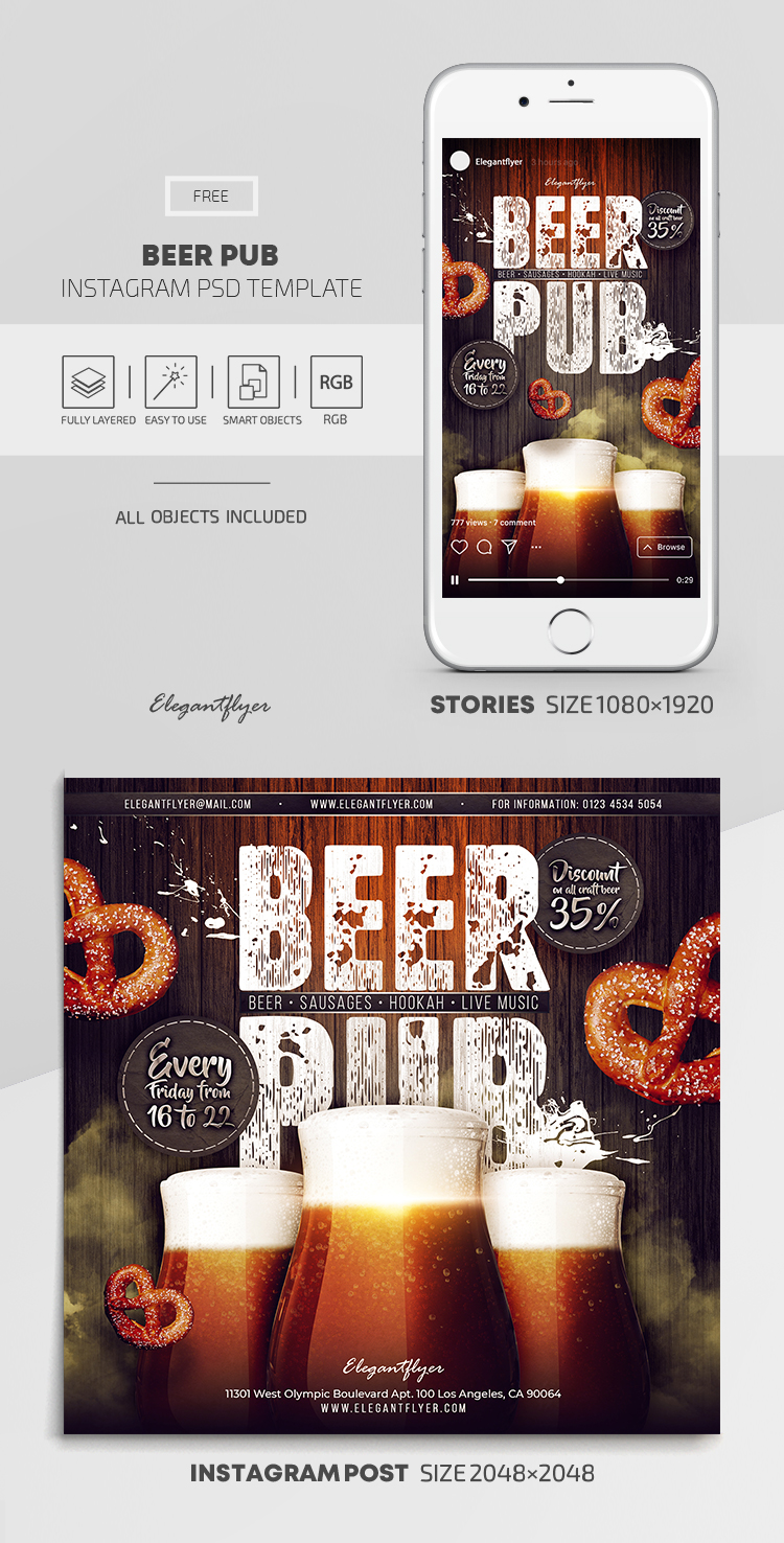 Beer Pub – Free Instagram Stories Template in PSD + Post Templates