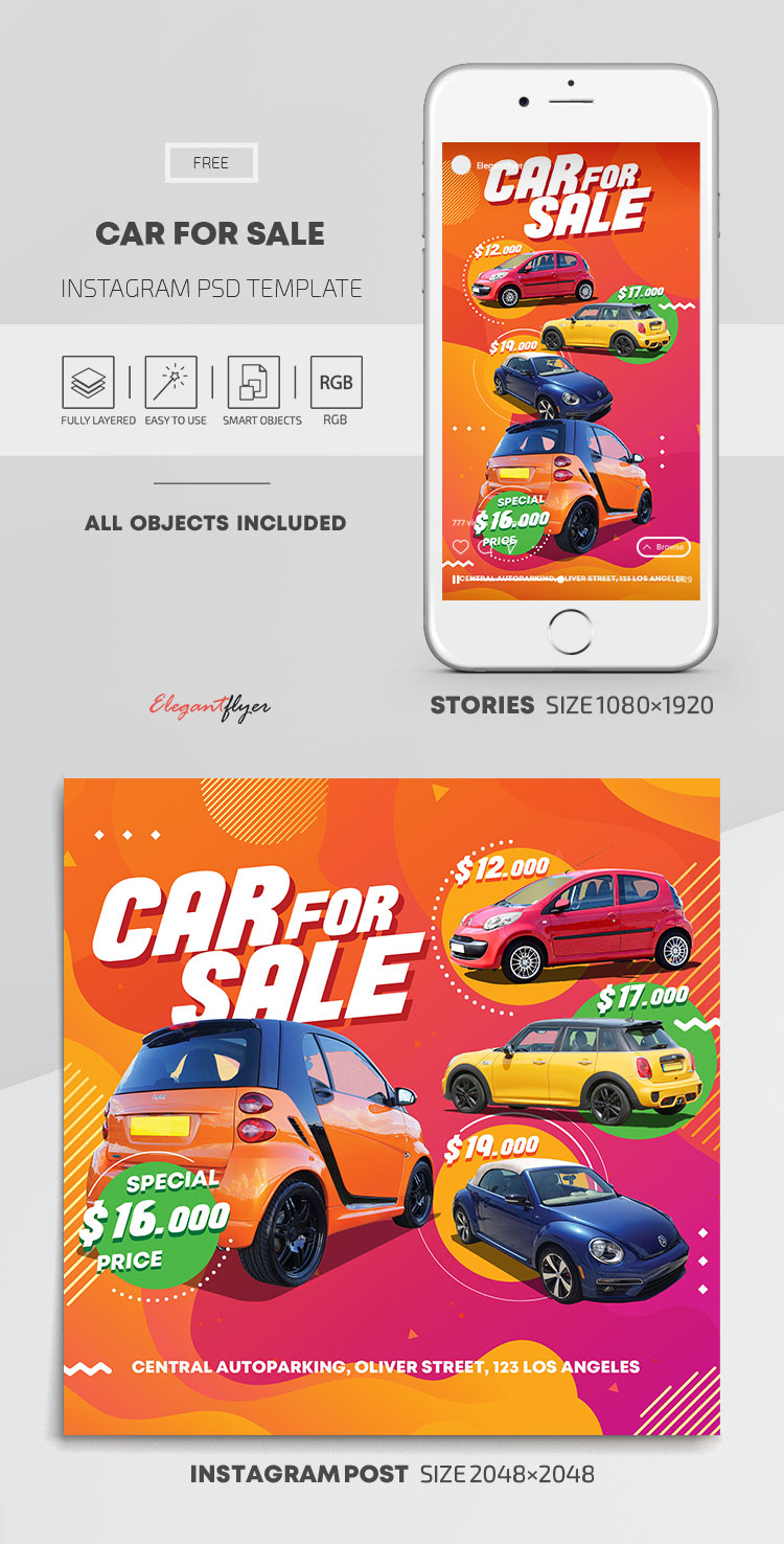 Car For Sale – Free Instagram Stories Template in PSD + Post Templates