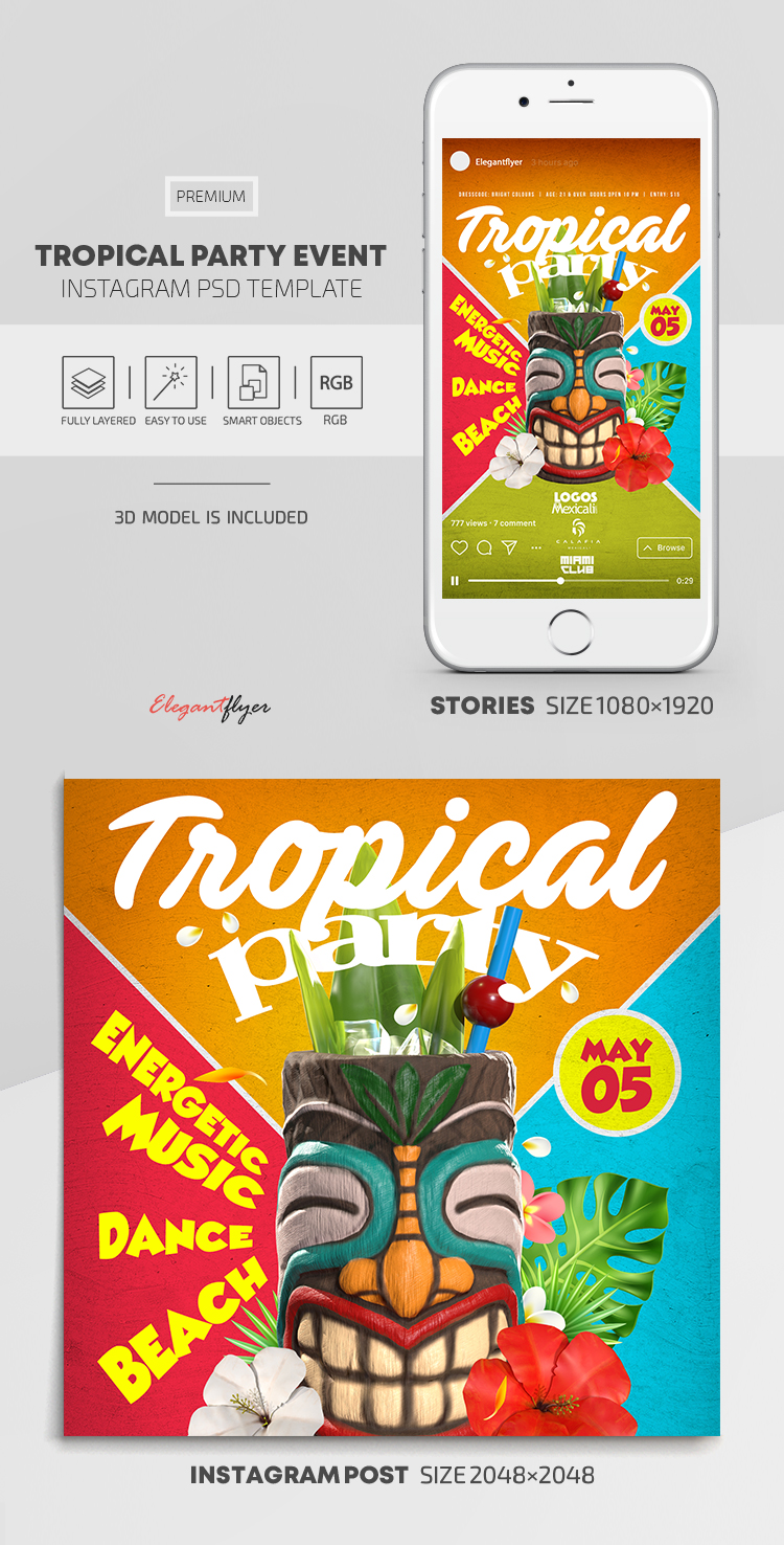Tropical Party Event – Instagram Stories Template in PSD + Post Templates