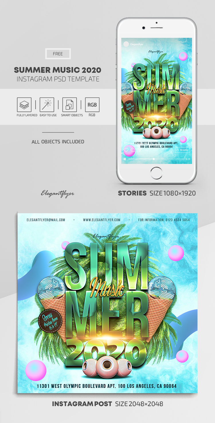 Summer Music 2020 – Free Instagram Stories Template in PSD + Post Templates