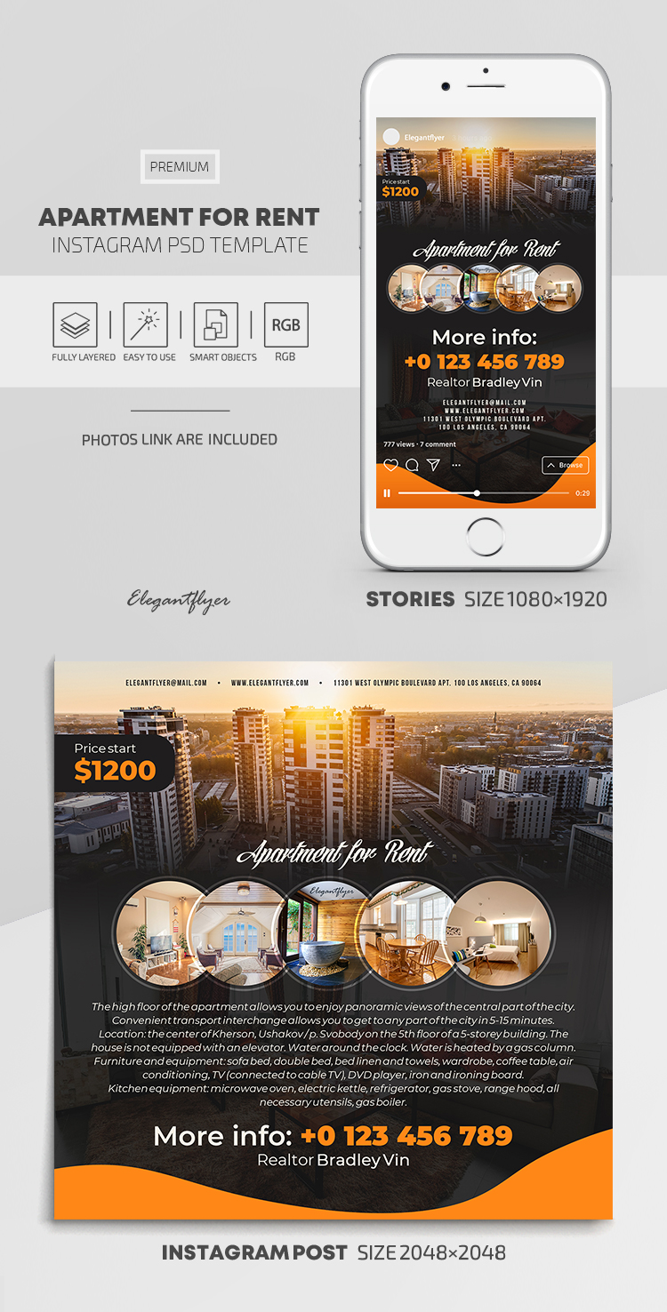 Apartment For Rent – Instagram Stories Template in PSD + Post Templates